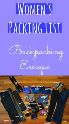 Detailed packing list for women's clothing focused on backpacking in Europe at any time of year! Done-for-you packing list with details, tips and links to each product on amazon! http://ourfavoriteadventure.com/