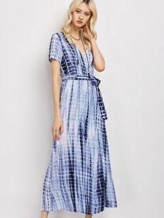 SHARE & Get it FREE | Tie-Dyed Short Sleeve Surplice Maxi Dress - Deep BlueFor Fashion Lovers only:80,000+ Items • New Arrivals Daily Join Zaful: Get YOUR $50 NOW!