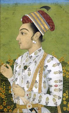 Assuming that I have correctly identified which of the Shah Shuja's portrait this is. Then Shah Shuja was born on 23 June in Ajmer. He was the second son and child of Mughal emperor Shah Jahan and his queen Mumtaz Mahal. Pichwai Paintings, Mughal Paintings, Indian Art Paintings, Art Indien, Mughal Miniature Paintings, Art Asiatique, Mughal Empire, India Art, Traditional Paintings