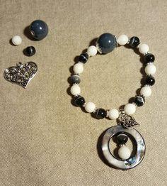 Bracelet white,  gray and black