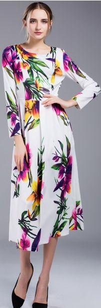 Resort White Print Long Sleeve Folar Maxi Dress