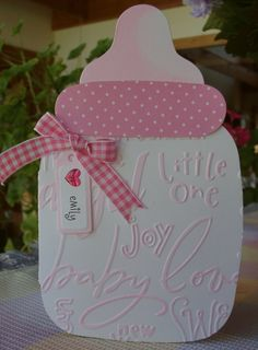 Baby Bottle Card # Pink # Baby Girl