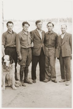 Group portrait of five men who are members of the Kibbutz Nili hachshara (Zionist collective) in Pleikershof, Germany Pictured at the right is Shraga Applebaum and the second person on the left is Chaim Shapiro.1945