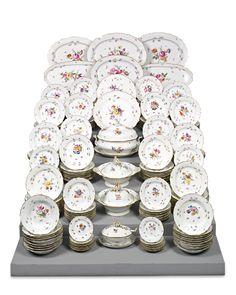 184-Piece Meissen Porcelain Dinner Service ~ Rococo, Flower and insects motif, New Brandenstein relief pattern designed by Johann Friedrich Eberlein in 1744, 19th Century Porcelain Dinner Service ~ M.S. Rau Antiques