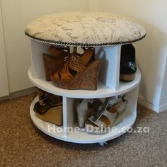 DIY: Ottoman made from an upcycled cable spool. This one is used for a shoe display.