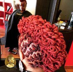 Nice loc updo via - Black Hair Information Community Dreadlock Styles, Dreads Styles, Updo Styles, Mohawk Styles, Faux Locs Hairstyles, Cool Hairstyles, Loc Updo, Beautiful Dreadlocks, Pretty Hair Color