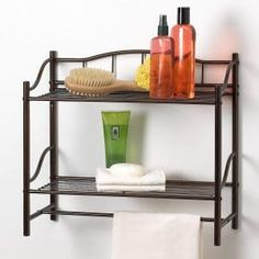 Creative Bath Products Complete Collection 2 Shelf Wall Organizer with Towel Bar, Oil Rubbed Bronze Oil Rubbed Bronze Finish Bathroom Organization Quick and easy assembly- Assembly instructions and tool included 20 inches x 8 inches x 18 inches Bathroom Wall Shelves, Bathroom Storage, Shelf Wall, Bathroom Ideas, Bath Shelf, Bathroom Colors, Bathroom Designs, Cabinet Shelving, Bar Shelves