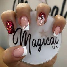 Bling Nail Art, Bling Nails, French Manicure Nail Designs, French Nails, Nail Art Designs Videos, Short Nail Designs, Ambre Nails, Short Square Nails, Valentine Nail Art
