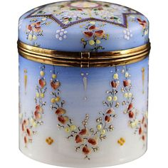 Antique Victorian era Opaline enamelled glass trinket hinged Box, Shop Rubylane.com