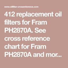 412 Replacement Oil Filters For Fram Ph2870a See Cross Reference Chart For Fram Ph2870a And More Than 200 000 Other Oil Filter Cross Reference Reference Chart