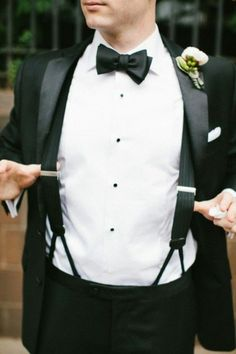 Groom Tuxedo Suspenders Black Bow Tie_Go Bespoke Brown Suit Wedding, Tuxedo Wedding, Wedding Suits, Wedding Tuxedos, Groom And Groomsmen Attire, Groom Outfit, Tux With Suspenders, Traje Black Tie, Wolf Photography