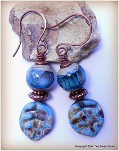 RESERVED for Joanne K   Breezy blue earrings of artisan lampwork glass and antiqued copper.  By Two Trees Studio, $32.00.