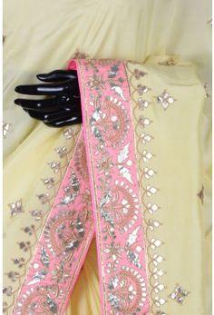 Pure Handloom Silk Embroidery-Pastel Yellow-Gota Work-WI3626