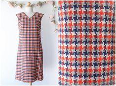 124b1c845d91 Vintage Checkered Jumper Dress - 1970 s Colorful Wool Dress - Sleeveless  Shift Dress by McMullen Sportswear - Size Medium