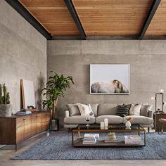 "Cuzco Yukas Wood Modern Low Media Console 78"", Loft Living Room Decor #mediaroomdecor"