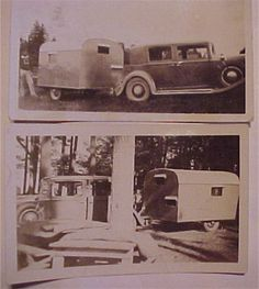 Vintage Camper Trailer 1930's Cars Early RV Two Photos! ORIGINAL!!  (F032) #3