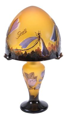 A French Art Nouveau cameo glass table lamp and shade by Galle- so rare, usually you see Galle in pieces.
