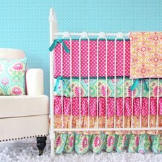 Project Nursery - Pink and Turquoise Crib Bedding Set by Caden Lane