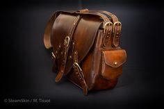 Sac homme, sac cuir naturel, cuir végétal, style steampunk, sac à main, sac à bandoulière, brun, bandoulières amovibles, 2 compartiments, poche intérieure, fermeture à sangles