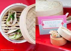 Dim Sum Bar   A Journey Down The Modern Silk Road   Styling by Cynthia Martyn Fine Events   Images by Crimson Photos   Florals by Fuscia Designs   Stationery by Laura K Design   Cake by The SweeterE   As Seen in WedLuxe Magazine
