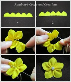 Rainbow's Crafts and Creations: How to Make Simple Felt Flowers