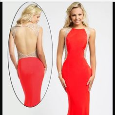 Jovani Prom Dress Jovani 93521 open back coral dress. Super cute, pictures don't do it justice. Size 1 but altered to around a size 0. Only worn once! Ask me anything you want about it in the comments below! Jovani Dresses