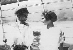 Adorable photo showing Tsarevich Alexei and his older sister, Grand Duchess Tatiana, on the Standart.