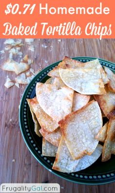 Homemade tortilla chips - only 159 calories per serving and ready in under 20 minutes. Cost of whole recipe is just $0.71! | via @Frugality Gal