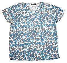 f746762ba0d Cassandra O Womens M Scrub Top Polka Dot Grey Blue White Short Sleeve  Medium #fashion