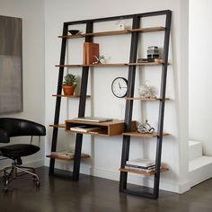 Ladder Shelf Desk + Narrow Bookshelf Set (White/Espresso) | west elm