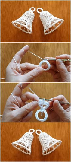 Christmas Bells Crochet Tutorial Step By Step – Valentinstag Thread Crochet, Crochet Crafts, Crochet Yarn, Crochet Flowers, Crochet Stitches, Crochet Projects, Free Crochet, Diy Crafts, Crochet Leaves
