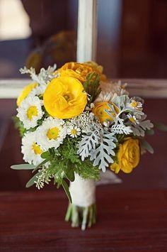 Ranunculus, aster, silverleaf Posies » Huckleberry Karen Designs