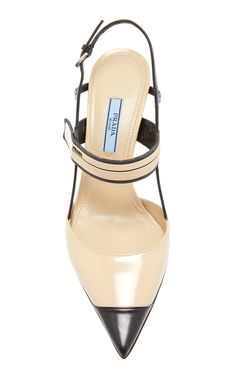 Canvas-Trimmed Leather Pumps by Prada Pretty Shoes, Beautiful Shoes, Cute Shoes, Me Too Shoes, Look Fashion, Fashion Shoes, Women's Shoes Sandals, Shoe Boots, Looks Chic