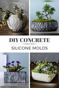 Gorgeous textured round and square concrete planters made with silicone molds. I love these flower pots. Perfect home decor objects for any home. #ad #concrete #siliconemold #cement #pot #flowerpot #planter #diy #homedecor