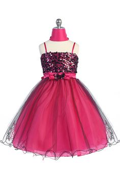 Fuchsia/Black Sparkly Sequined Tulle Overlayed Girl Dress CD-733-FB CD-733-FB $64.95 on www.GirlsDressLine.Com
