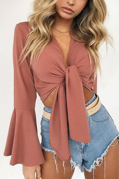 Fashion Women Casual Tank Crop Tops Vest Off Shoulder Long Flare Sleeve Chiffon Solid Bandage Tanks Summer Fashion Clothing Crop Top Outfits, Casual Outfits, Cute Outfits, Fashion Outfits, Fashion Trends, Fashion Women, Summer Outfits, Crop Blouse, Everyday Outfits