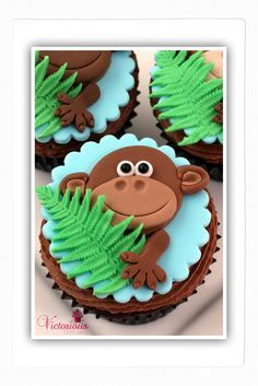 Monkey Cupcakes by Victorious Cupcakes. Jungle Safari Cake, Jungle Cupcakes, Monkey Cupcakes, Safari Cakes, Animal Cupcakes, Yummy Cupcakes, Cupcake Cakes, Kid Cakes, Jungle Theme Birthday
