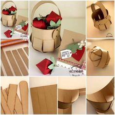 Elabora esta bella canasta con tiras de cartoncillo o cartulina, ideal para obsequiar dulces o chocolates.