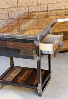 This best selling custom industrial desk features reclaimed wood wrapped in steel. Made in Bakersfield, CA by MW Industrial Design. Industrial Design furniture for home or office. Industrial Style Desk, Industrial Design Furniture, Vintage Industrial, Into The Woods, Steel Furniture, Diy Furniture, Furniture Dolly, Interior Design Tips, Interior Decorating