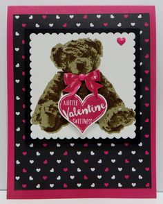 Stampin' Up Baby Bear Valentine card created by Lynn Gauthier using SU's Baby Bear and My Hero Stamp Set, Layering Squares and Sweet & Sassy Heart Framelits Dies and Pop of Pink Specialty Designer Series Paper.  Go to http://lynnslocker.blogspot.com/2016/08/stampin-up-baby-bear-my-hero-pop-of.html to see how this card was made.