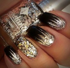 Glitter gold silver over black nails black nails, g Black Nails With Glitter, Black Coffin Nails, Matte Black Nails, Black Nail Art, Silver Nails, Glitter Nails, Gold Sparkle Nails, Gold Glitter, Glitter Uggs