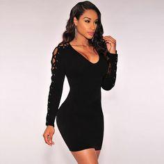 Vestidos 2017 Newest Criss Cross Lace Up Dress Long Sleeve Black   White  Slim Sexy Night Club Wear Bodycon Bandage Party Dresses 642ecac73718