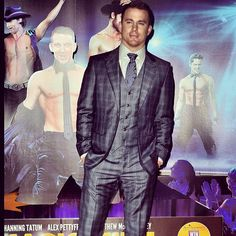 """Channing Tatum donning a grey Giorgio Armani three-piece suit at the London premiere of """"Magic Mike"""""""
