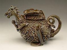 Dragon teapot! KaddatzArtz Pottery by Oliver Kaddatz. Pls. keep artist's info with pin.