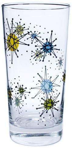 ATOMIC tumbler, glass, mid century modern, space era -- Grandma had these and the dishes to match.