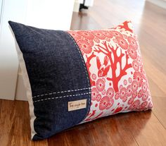 Items similar to Mikko 3 Panel - Red Mikko cushion Cover with Organic Cotton/Hemp Denim. on Etsy Sewing Pillows, Diy Pillows, Decorative Pillows, Throw Pillows, Patchwork Cushion, Quilted Pillow, Colchas Quilting, Cushion Inspiration, Denim Ideas