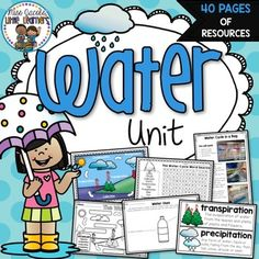 Water Unit {Water Cycle Activities}: This water unit has been created to assist you in teaching a unit of study in water. It includes 40 pages of information and resources on this topic and covers the following: ✔ Water Cycle: evaporation, condensation, precipitation, transpiration - definitions and explanations ✔ Water Uses ✔ Bodies of Water ✔ Water forms: Solids, liquids, gas ✔ Saving Water (Water Conservation) ✔ Salt Water & Fresh Water Miss Jacobs Little Learners