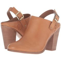 Vince Camuto Finola (Gingerbread) Women's Shoes (€60) ❤ liked on Polyvore featuring shoes, sandals, brown, brown clogs, block heel slingback sandals, brown slingback shoes, block heel slingback and slingback shoes
