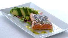 Baked Marinated Norwegian Salmon with Avocado Salad