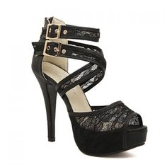 Sexy Black Lace and Cross-Straps Design Sandals For Women, BLACK, 38 in Sandals | DressLily.com